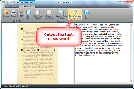 Output the Text
