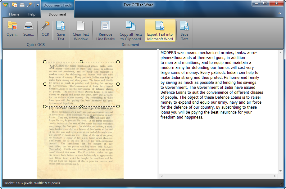 Free OCR to Word Screen shot